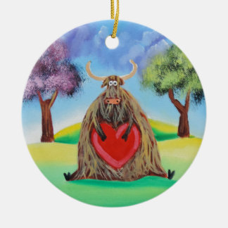 Cute Highland cow with a heart Gordon Bruce Double-Sided Ceramic Round Christmas Ornament