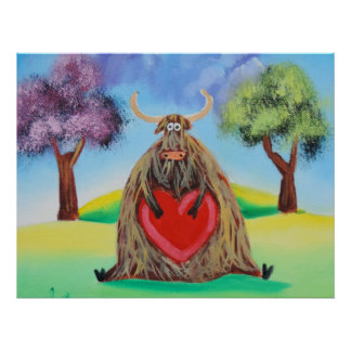 Cute Highland cow with a heart Gordon Bruce Poster