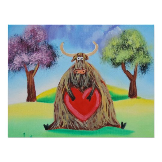 Cute Highland cow with a heart Gordon Bruce