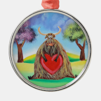 Cute Highland cow with a heart Gordon Bruce Silver-Colored Round Decoration