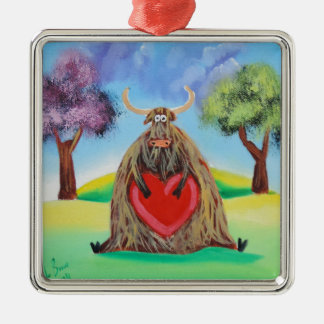 Cute Highland cow with a heart Gordon Bruce Silver-Colored Square Decoration