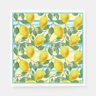 Cute Hip Tropical Summer Lemon Fruit Pattern Paper Napkin