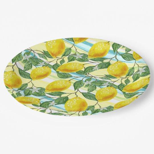 Cute Hip Tropical Summer Lemon Fruit Pattern Paper