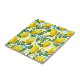 Cute Hip Tropical Summer Lemon Fruit Pattern Tile