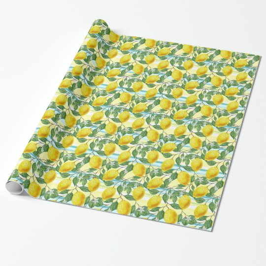Cute Hip Tropical Summer Lemons Fruit Pattern Wrapping