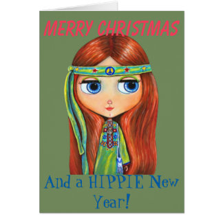 Cute Hippie Chick in Green Peace Sign Christmas Card