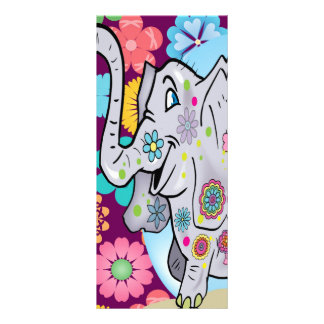 Cute Hippie Elephant with Colorful Flowers 10 Cm X 23 Cm Rack Card