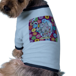 Cute Hippie Elephant with Colorful Flowers Doggie T Shirt