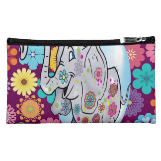 Cute Hippie Elephant with Colorful Flowers Makeup Bag