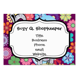 Cute Hippie Elephant with Colorful Flowers Pack Of Chubby Business Cards