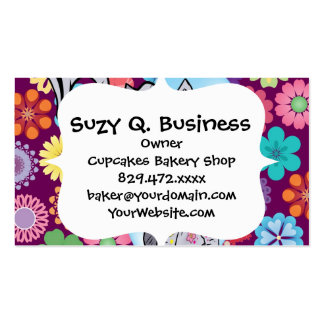 Cute Hippie Elephant with Colorful Flowers Pack Of Standard Business Cards