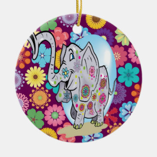 Cute Hippie Elephant with Colorful Flowers Round Ceramic Decoration