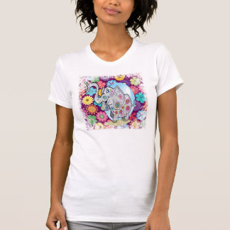 Cute Hippie Elephant with Colorful Flowers T-Shirt