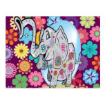 Cute Hippie Elephant with Colourful Flowers