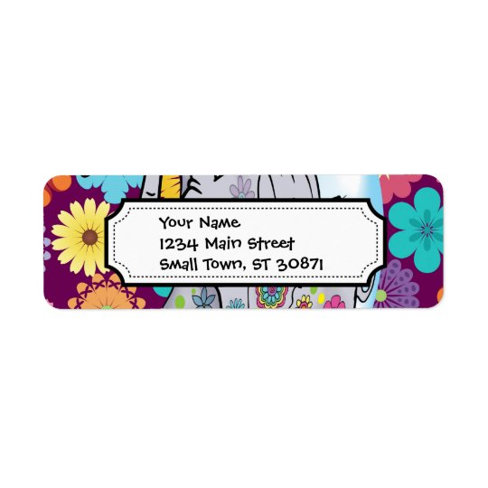 Cute Hippie Elephant with Colourful Flowers Return Address Label