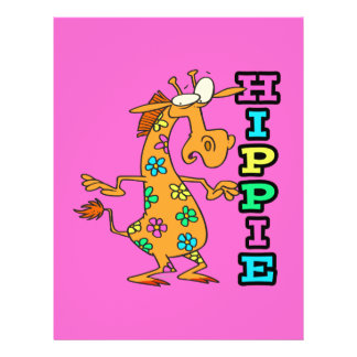 cute hippie flowers giraffe cartoon character personalized flyer