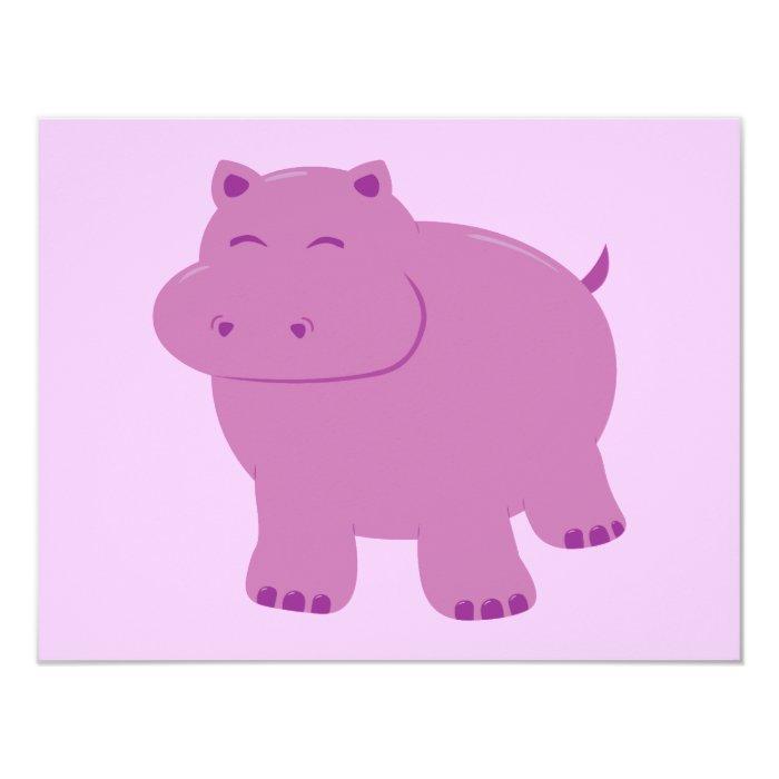 Cute Hippo 11 Cm X 14 Cm Invitation Card