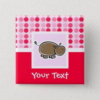 Cute Hippo 15 Cm Square Badge