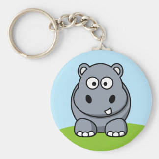 Cute Hippo Basic Round Button Key Ring