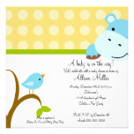 Cute Hippo & Birdie Baby Shower Personalized Announcements