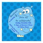 Cute Hippo Blue Polka Dots Boys Invitations