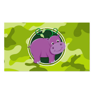 Cute Hippo bright green camo camouflage Business Cards