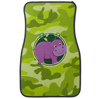 Cute Hippo; bright green camo, camouflage Floor Mat