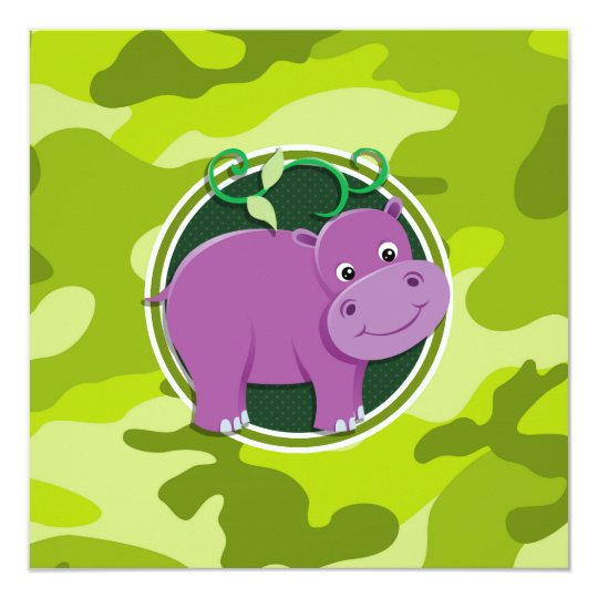 Cute Hippo; bright green camo, camouflage Card