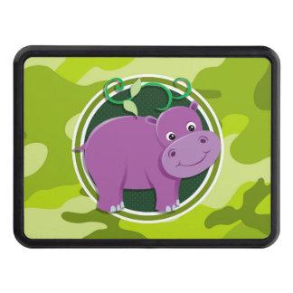 Cute Hippo; bright green camo, camouflage