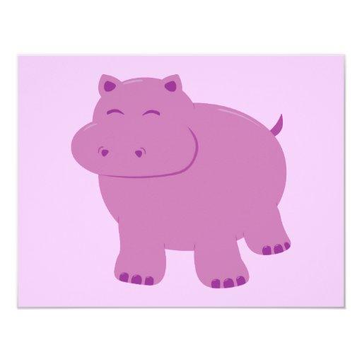 Cute Hippo Custom Invitation