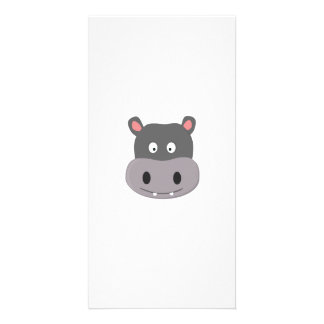 cute hippo custom photo card