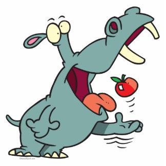cute hippo eating apple cartoon acrylic cut out