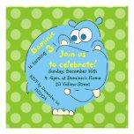 Cute Hippo Green Polka Dots Invitations Custom Invitations