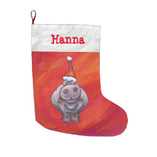 Cute Hippo in Santa Hat on Red