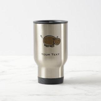 Cute Hippo; Metal-look Travel Mug