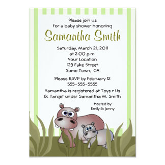 Cute Hippo Mom and Baby Green Shower Invitations