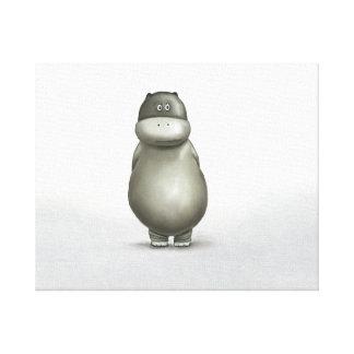 Cute Hippo on Canvas