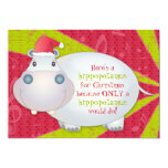 Cute Hippo Personalised Christmas Greeting Card Custom Invitations