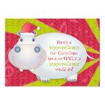 Cute Hippo Personalised Christmas Greeting Card Custom Invitations