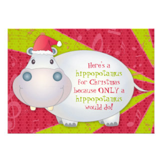 Cute Hippo Personalized Christmas Greeting Card