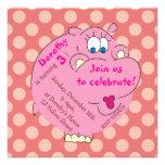 Cute Hippo Pink Polka Dots Girly Invitations
