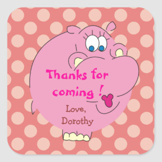 Cute Hippo Pink Polka Dots Party Stickers