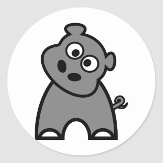 Cute Hippo Round Sticker