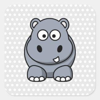 Cute Hippo Square Sticker