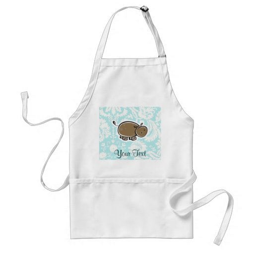 Cute Hippo; Teal Aprons