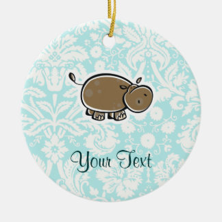 Cute Hippo; Teal Christmas Ornament