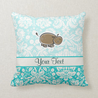 Cute Hippo; Teal Cushion
