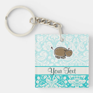 Cute Hippo; Teal Double-Sided Square Acrylic Key Ring