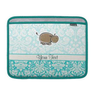 Cute Hippo; Teal MacBook Sleeve