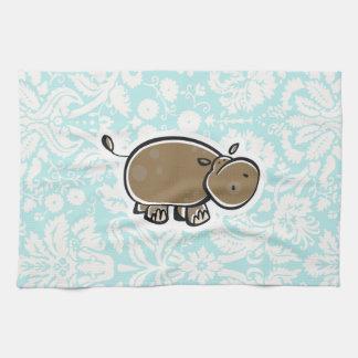 Cute Hippo; Teal Tea Towel